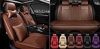 Модельные чехлы с переплетом на передние и задние сиденья Nissan Qashqai - экокожа, фото 1