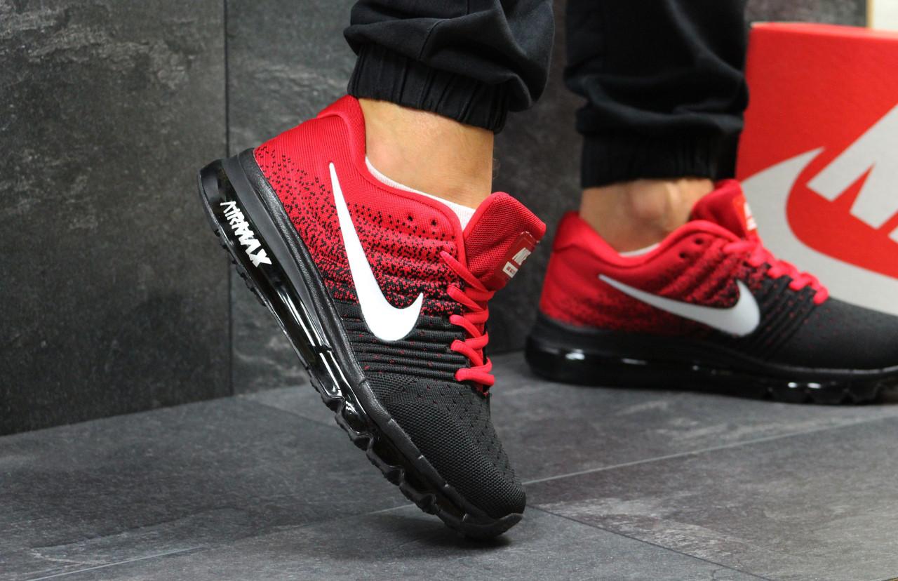 Кроссовки мужские Nike Air Max 2017 дышашчие на лето (черно-красные), ТОП-реплика