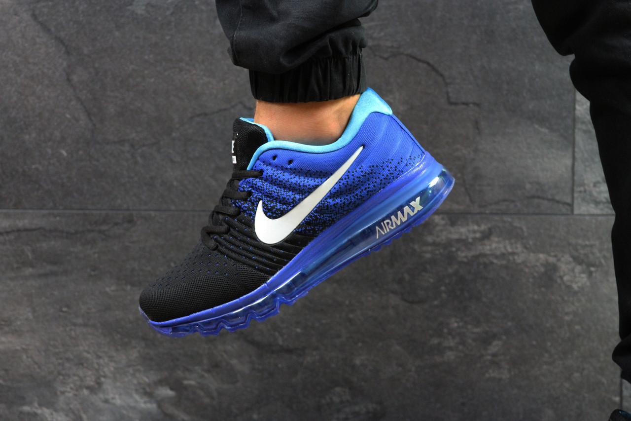 Кросівки чоловічі Nike Air Max 2017 стильні, модні, молодіжні (чорні з синім), ТОП-репліка