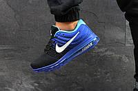 Кроссовки мужские Nike Air Max 2017 стильные, модные, молодежные (черные с синим), ТОП-реплика, фото 1