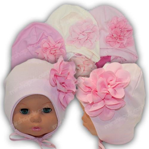 детская трикотажная шапка на завязках