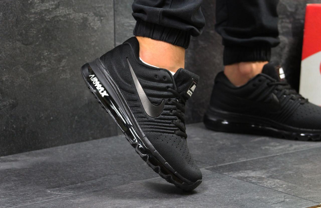 Кросівки чоловічі Nike Air Max 2017 зручні класичні легкі в чорному кольорі, ТОП-репліка
