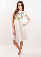 Льняное платье с вышивкой «Звуки лета» (серое), фото 1