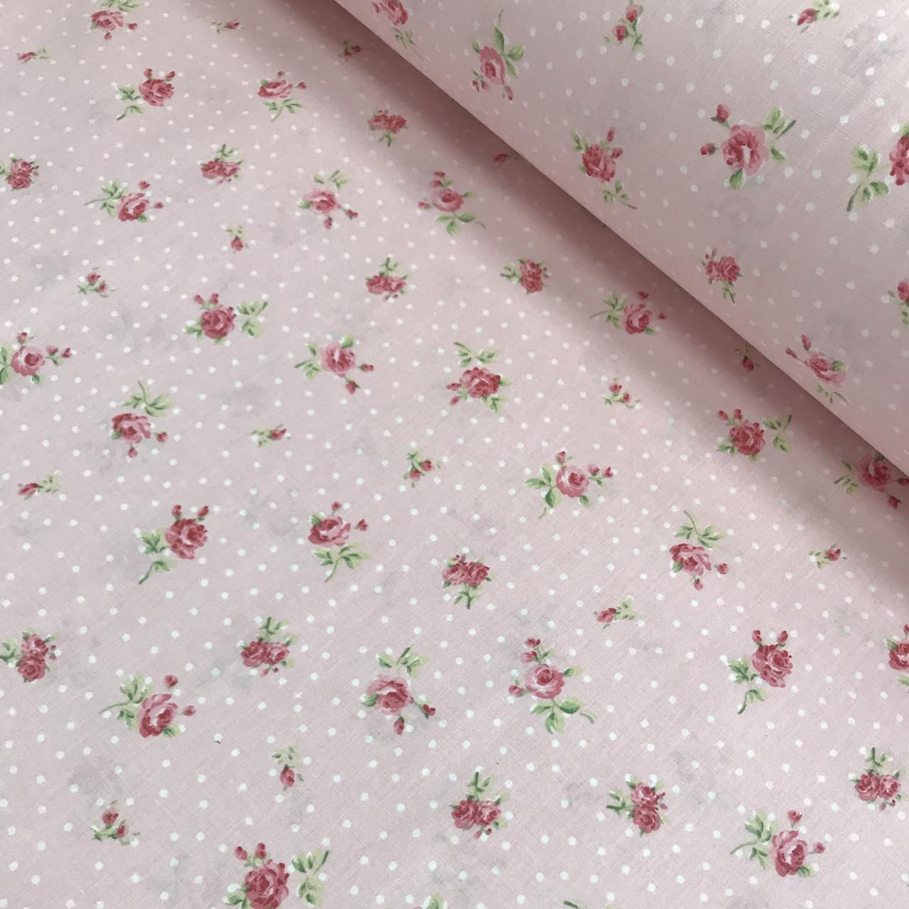 Ткань поплин розовые цветы с белым горохом на розовом (ТУРЦИЯ шир. 2,4 м) №33-05