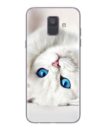 Чехол с картинкой (силикон) для Samsung J6 2018 Galaxy J600 Белый котик