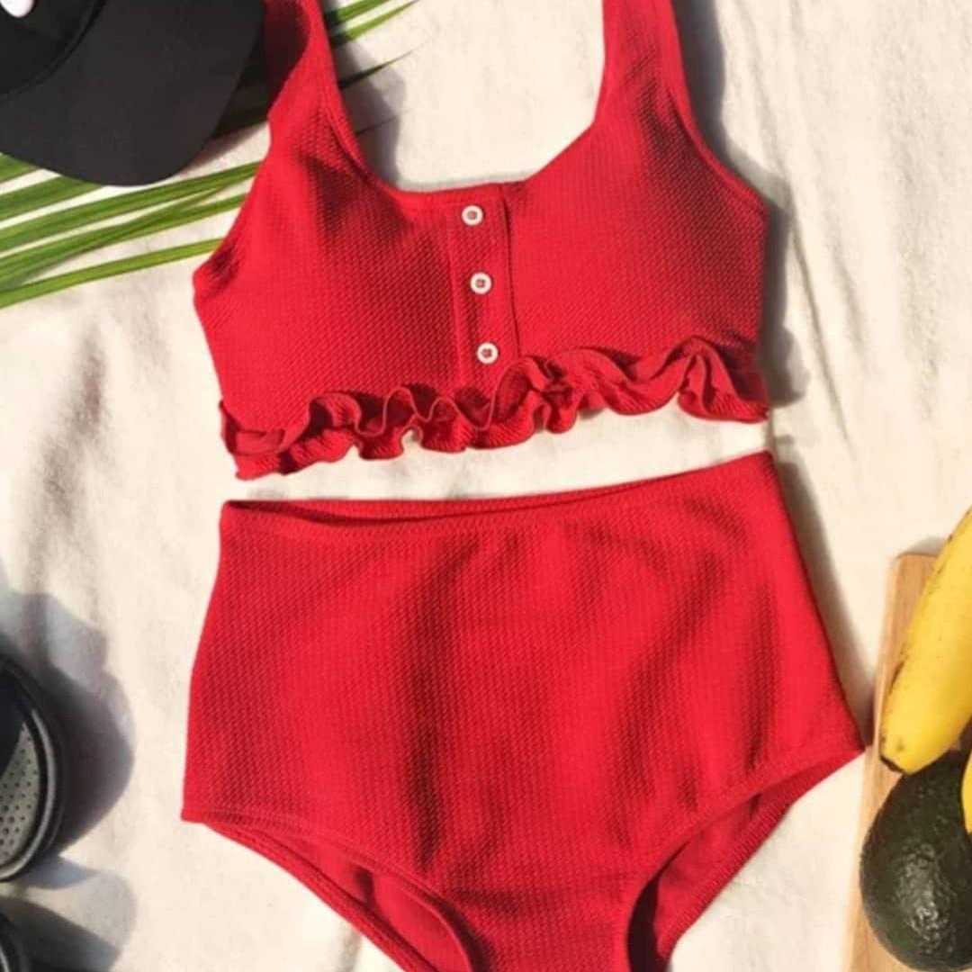 34217f13c2ead Купальник с высокой талией, красный / 2 цвета - PODIUM - магазин купальников  и женской