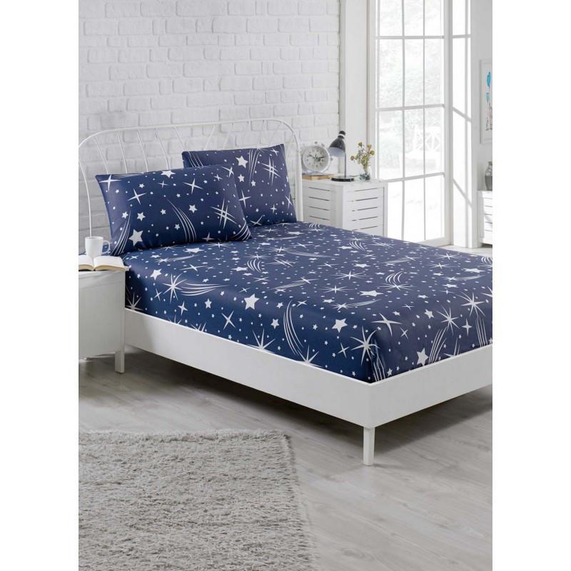 Простынь на резинке с наволочками Eponj Home - Halley lacivert синий 160*200 см