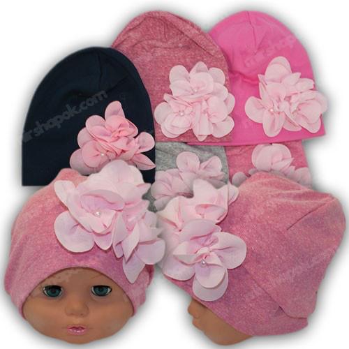 Детская трикотажная шапка с бантом, р. 44-46