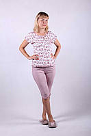 Трикотажная пижама футболка с бриджами р.44-56