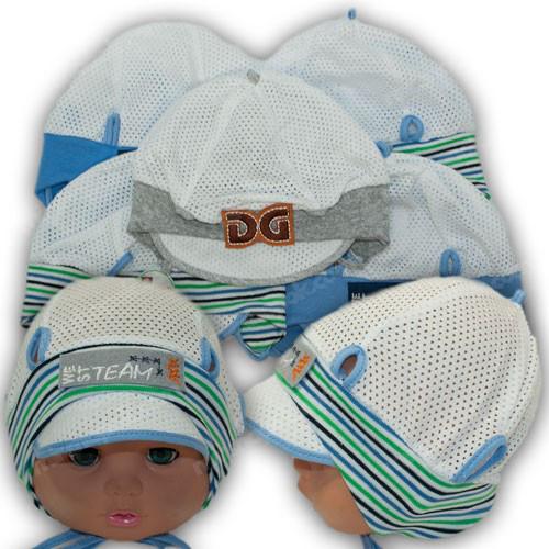 Детская трикотажная шапка с сеткой, р. 44-46