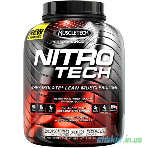 Сывороточный протеин изолят MuscleTech Nitro Tech Performance (1,8 кг) маслтек перфоменс strawberry