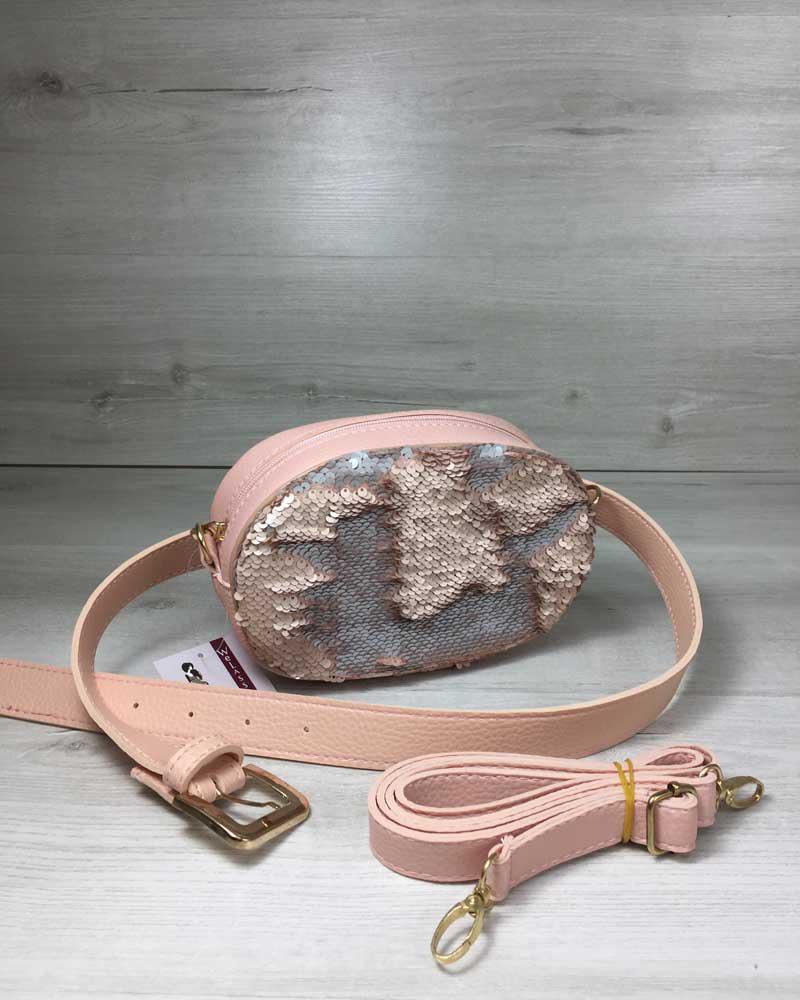 41f035bd4c53 Женская сумка на пояс- клатч WeLassie пудрового цвета Пайетки  серебро-пудра, цена 416 грн., купить в Киеве — Prom.ua (ID#737460777)