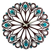 Настенные Часы металлические Glozis Peacock Feather Перо Павлина (50х50 см) [Металл, Открытые, Цвета]
