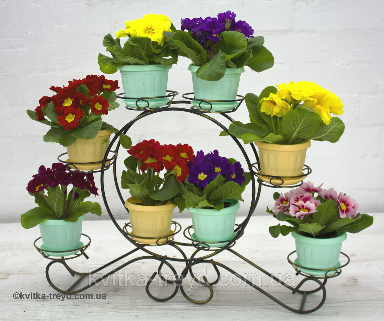 Кованая подставка для цветов Карета мини 8