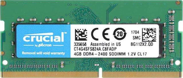 "Оперативная память Crucial DDR4 4GB 2400MHz SODIMM CT4G4SFS824A  ""Over-Stock"" Б/У"
