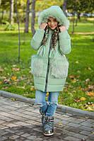 Пуховик для девочки с капюшоном и мехом мята