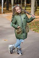Пуховик для девочки с капюшоном и мехом хакки