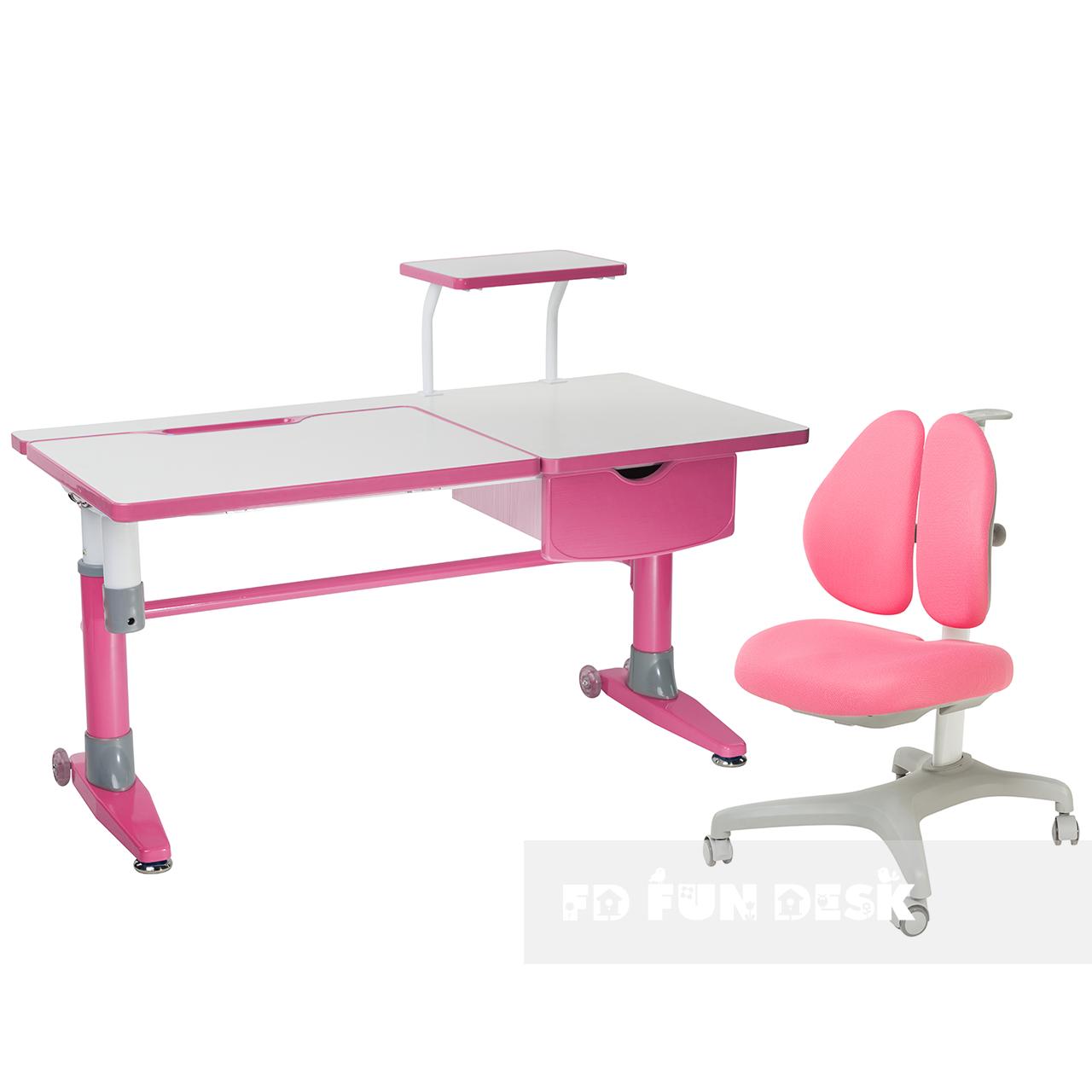Комплект подростковая парта для школы Ballare Pink + ортопедическое кресло Bello II Pink FunDesk