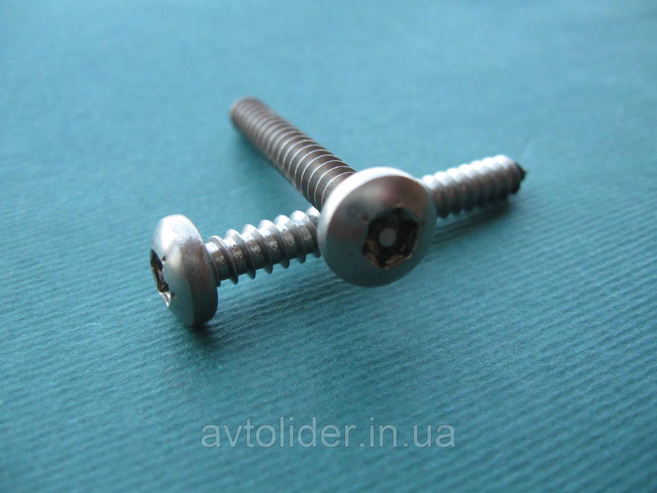 Нержавеющий антивандальный шуруп с полукруглой головкой, TORX+PIN
