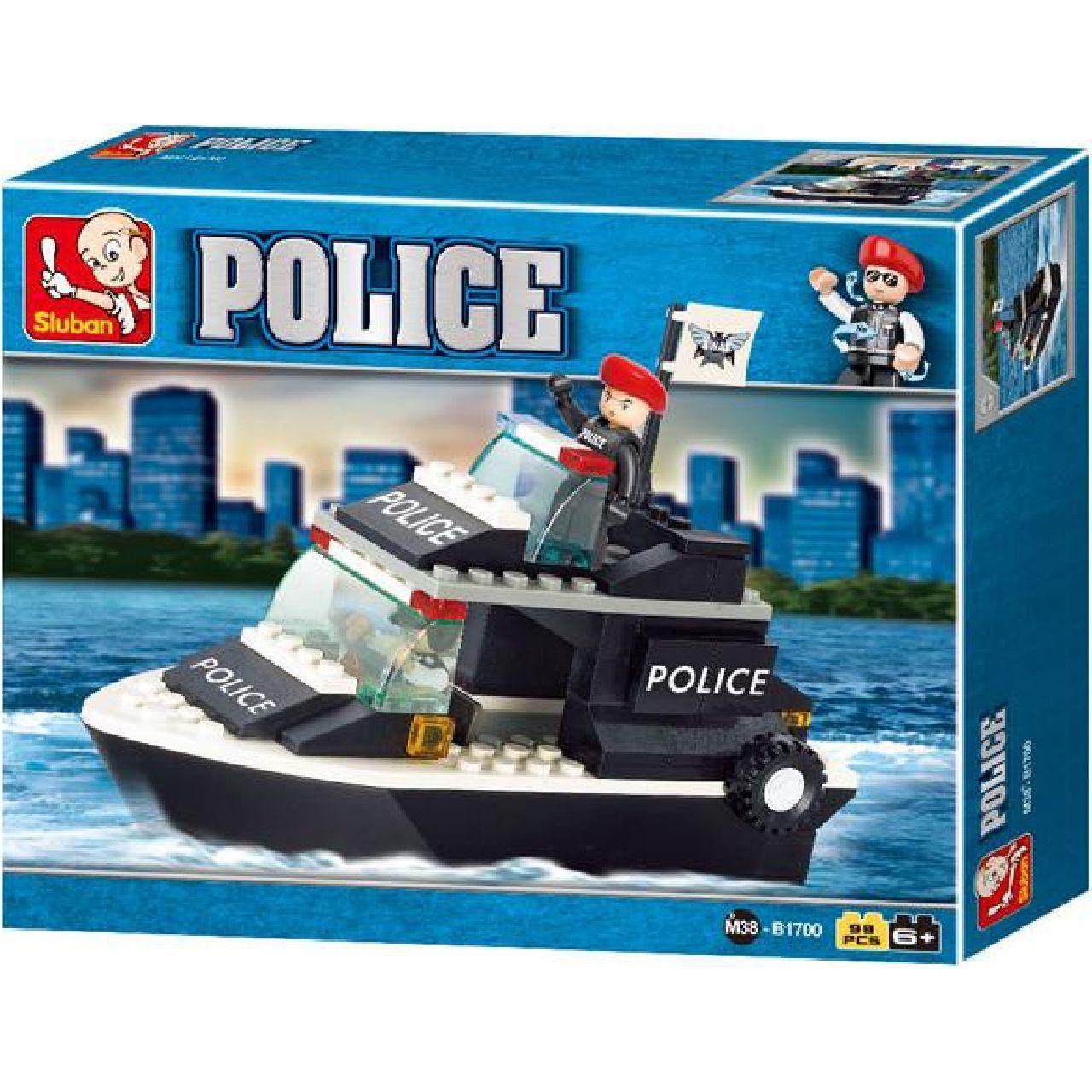 Конструктор M38-B1700 поліція, катер, фігурка, 98 елементів, в коробці, 24-19-4,5 см