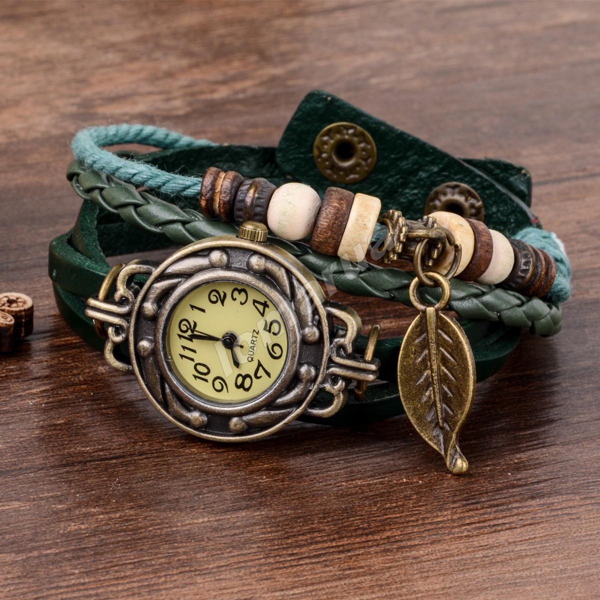 Женские часы плетеный ремешок  Dark green