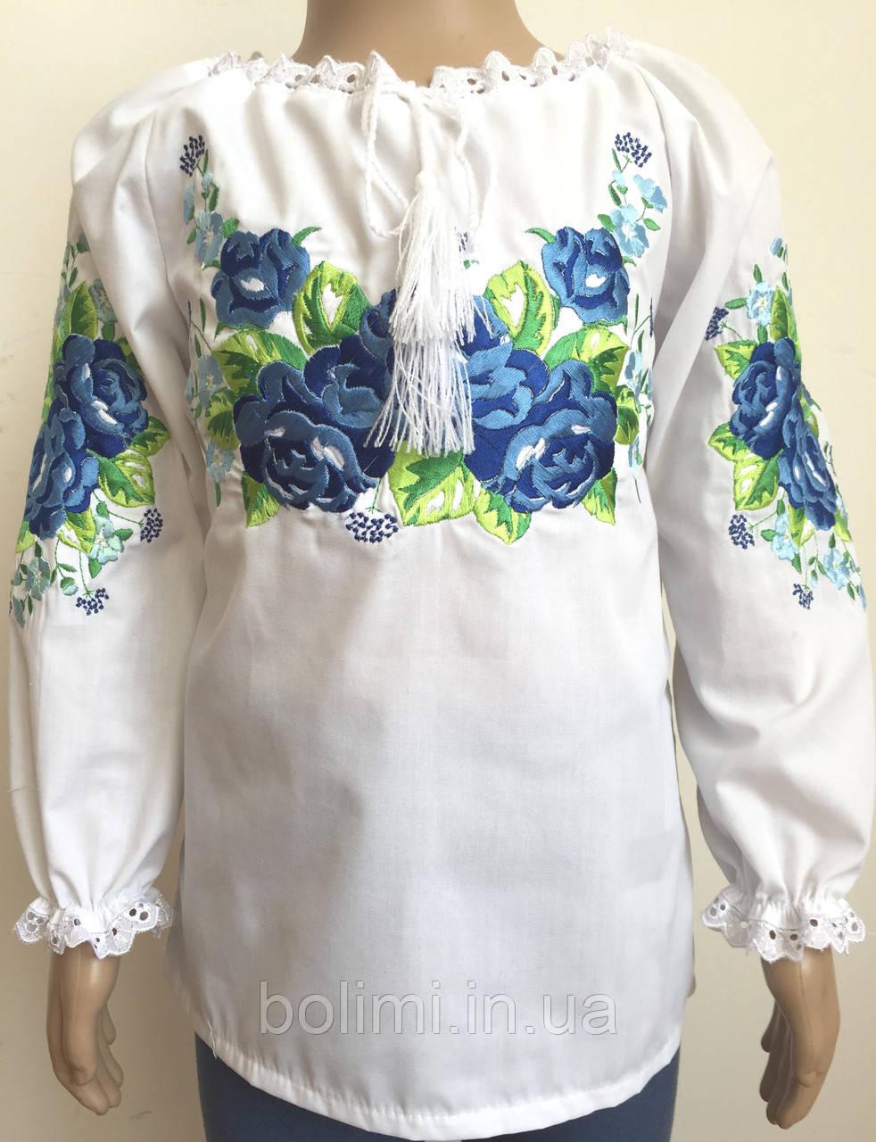 Сорочка для дівчинки вишита гладдю сині троянди з довгим рукавом ... 50cd1b4b8fbef
