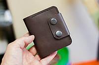 Кожаный кошелек из натуральной кожи ручной работы Revier коричневый на кнопках для денег, фото 1