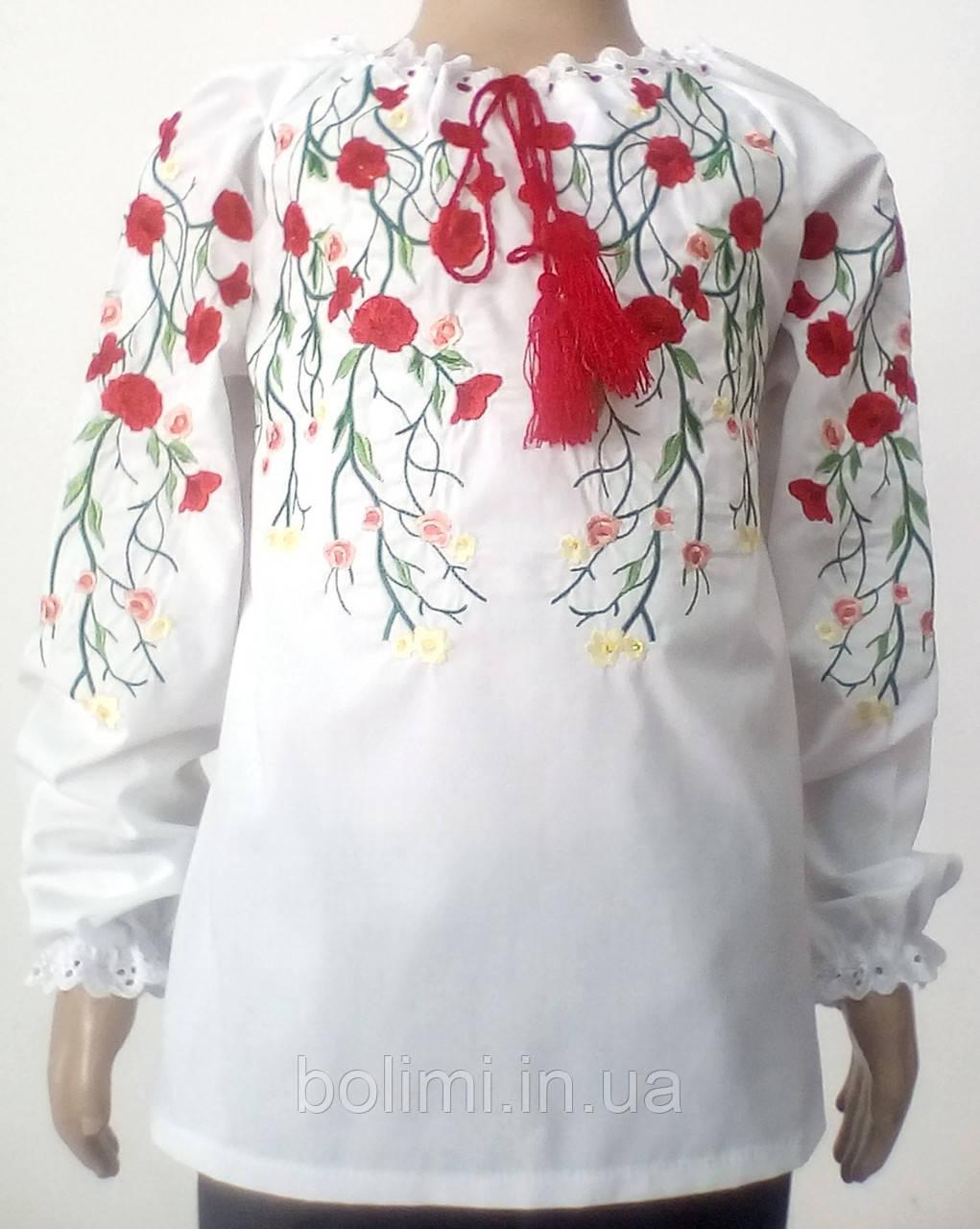 Сорочка для дівчинки вишита гладдю червоні квіти на гілочках Батист ... 97457ad2f60e5
