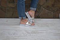 Шлепки танкетка серебро, фото 1