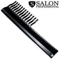 Salon Prof. Гребень 19289 черный пластик широкая волна зубья ручка 190х60мм