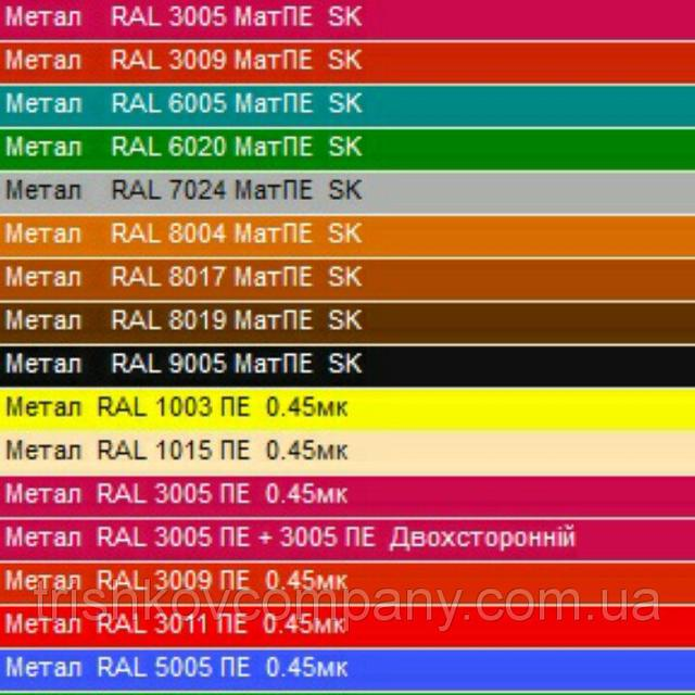 Цветовая палитра гладкого листа оцинкованного по таблице РАЛ