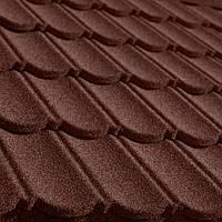 Композитная бесшумная металлочерепица QueenTile Classic Brown с камешковым покрытием  Украинского производства