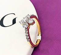 Кольцо женское позолота ХР. Медицинское золото. Размер - 18