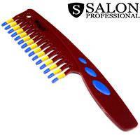 Salon Prof. Гребень 45389 109RPD бордо широкие зубья ручка 220х55мм, фото 2