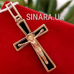 Золотой крестик - Крестик с эмалью золото 585