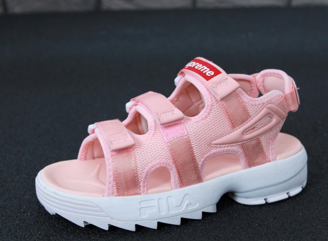 Сандали женские FILA Disruptor х Supreme Sandals Pink, сандали фила розовые