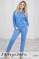 Стильный костюм для полных с гипюром джинс, фото 1