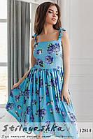 Льняное платье Розы голубое
