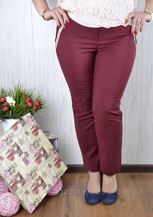 Женские батальные брюки со вставками