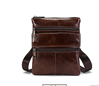 "Мужская кожаная сумка  через плечо ""Холмс Brown"" , фото 1"