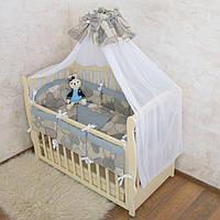 """Комплект для детской кроватки """"Серденько"""" 7 предметов Поплин"""