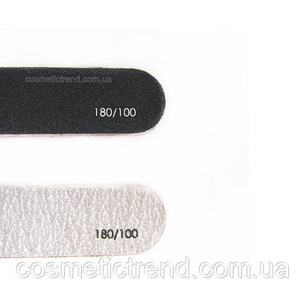 Пилка для нігтів вузька рівна двостороння абразивна 100/180 (чорна) Сталекс, фото 2