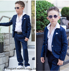 Школьный костюм для мальчика пиджак и брюки т.синий
