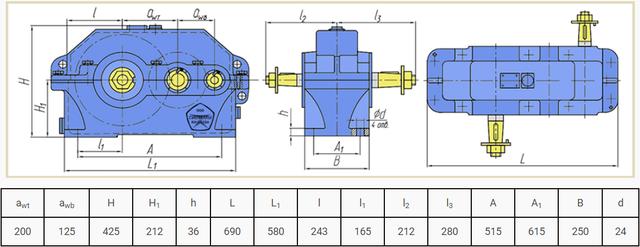 Габаритні розміри редуктора Ц2В-200 і 1Ц2У-200 креслення