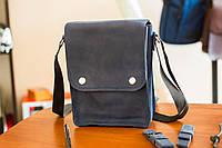 Мужская кожаная сумка из натуральной кожи ручной работы Revier синяя