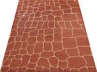 Шикарный современный ручной ковер кирпичного цвета из шерсти и вискозы , фото 1