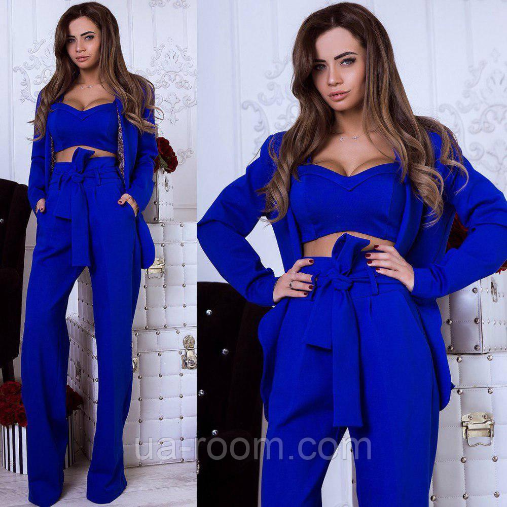 Стильный женский костюм 3 в 1: брюки+топ+пиджак №551