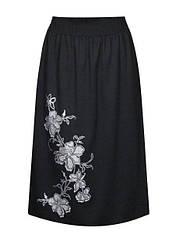 Размер 56 - трикотажная юбка Ветка - цвет черный