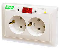 Реле напруги CP-708 100-300В 10А 1-фазне, двійна розетка