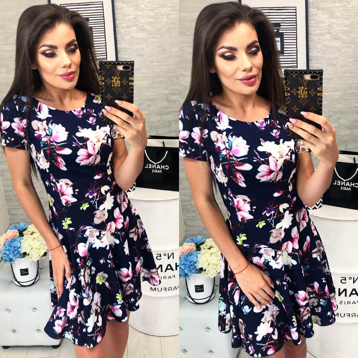 Платье летнее, новинка 2018, модель 103, цвет - синий, принт - цветок
